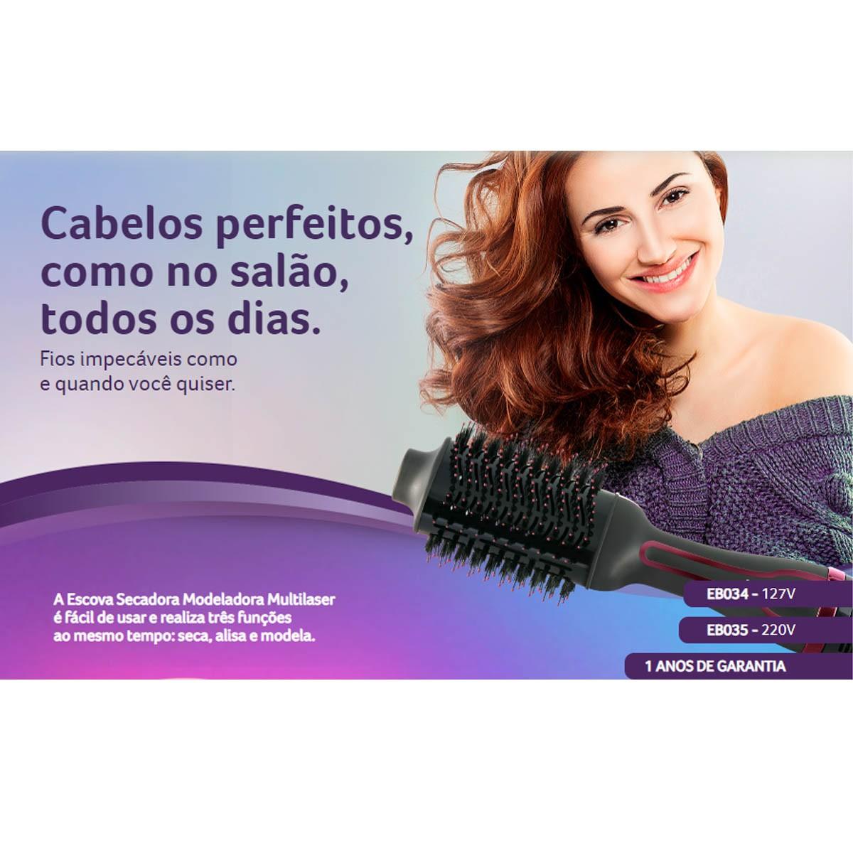 Escova Secadora Modeladora 3 em 1 127V EB034