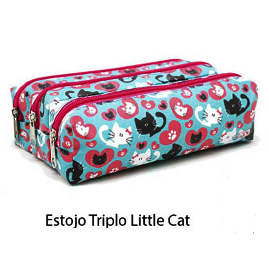 Estojo Escolar Feminino Grande Triplo 3 Ziperes Unicornio Little Cat Lovely Own
