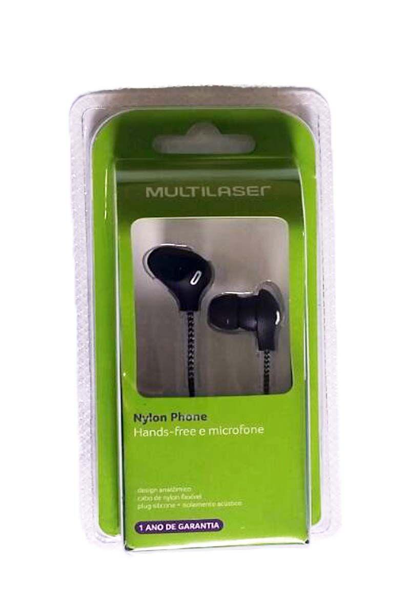 Fone de Ouvido cabo de Nylon e Microfone Preto Multilaser Ph194