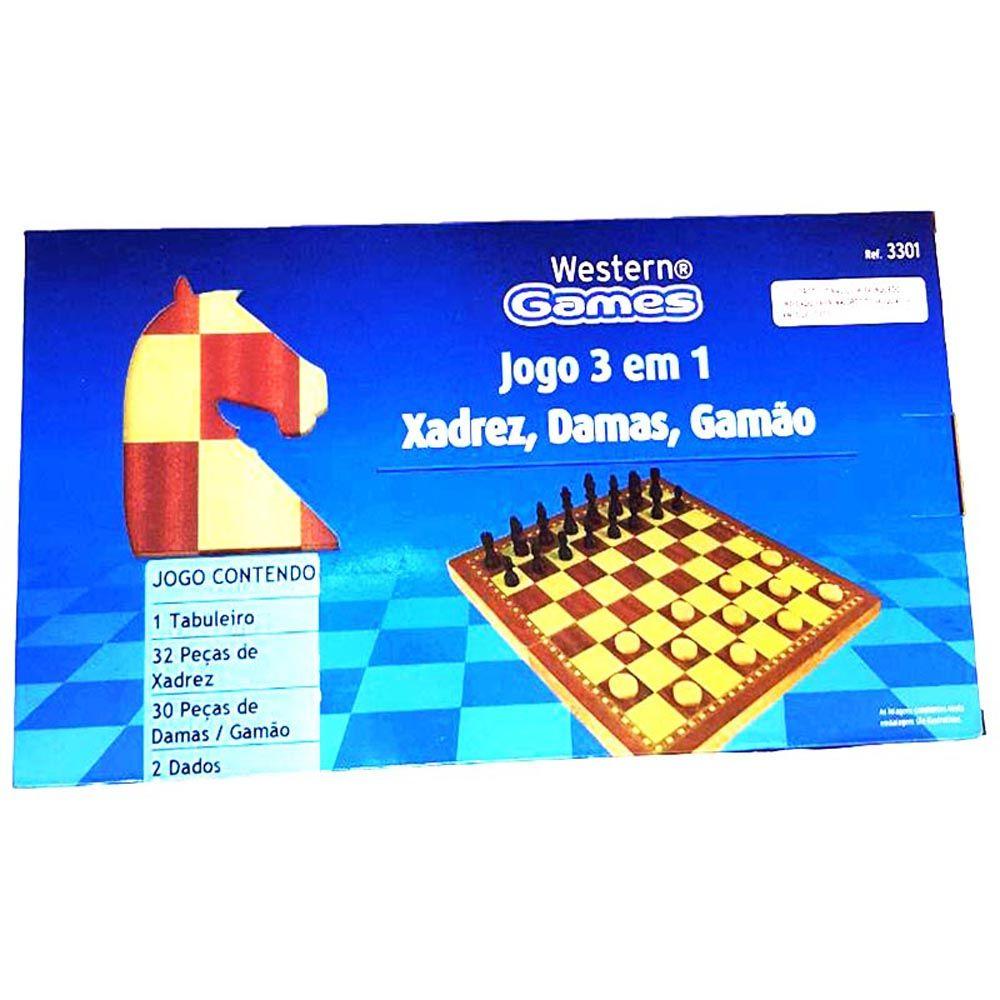Jogo 3 em 1 Xadrez, Damas e Gamão