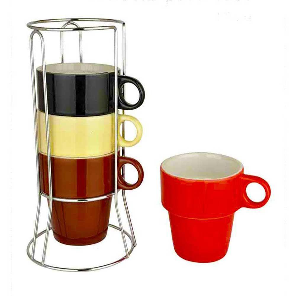 Jogo de Xicara Caneca P/ Café 210ml 4 Unidades Colors Com Suporte Unicasa