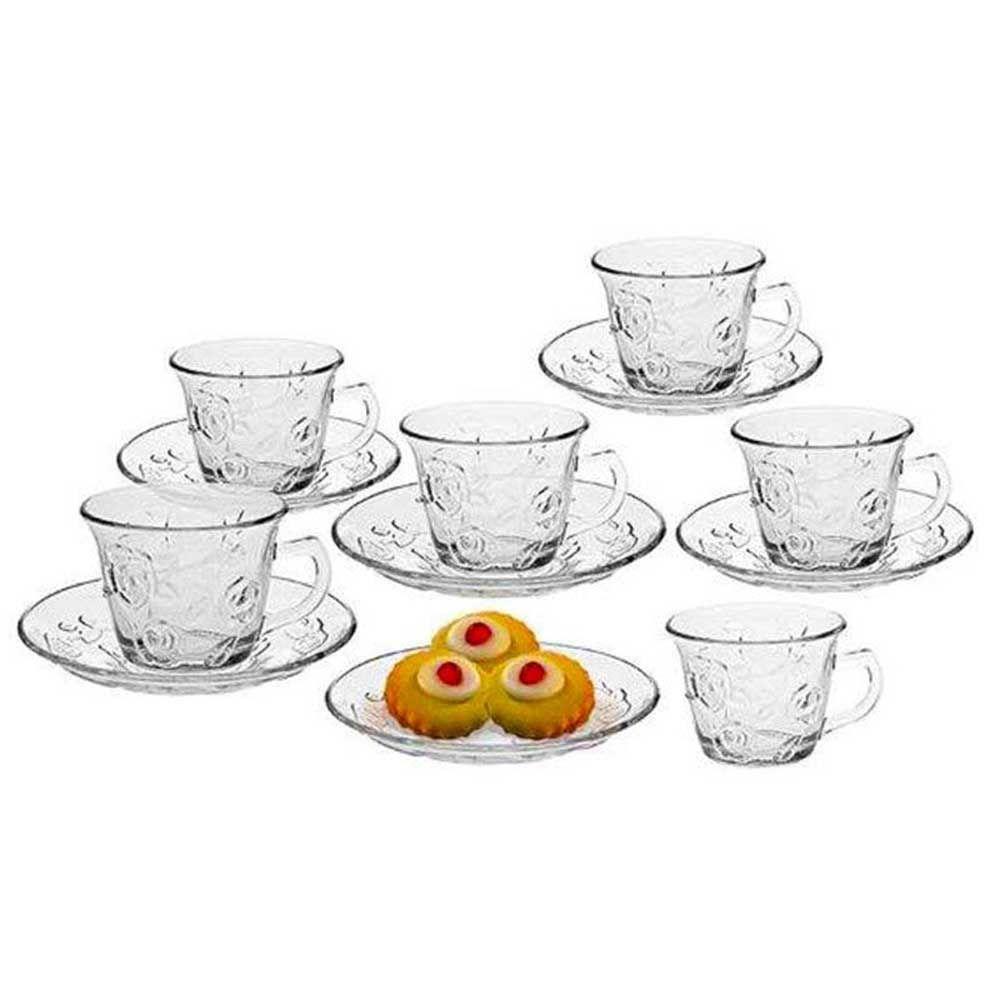 Jogo de Xicaras de Cha Vidro com 12 Peças Estampa Rosas