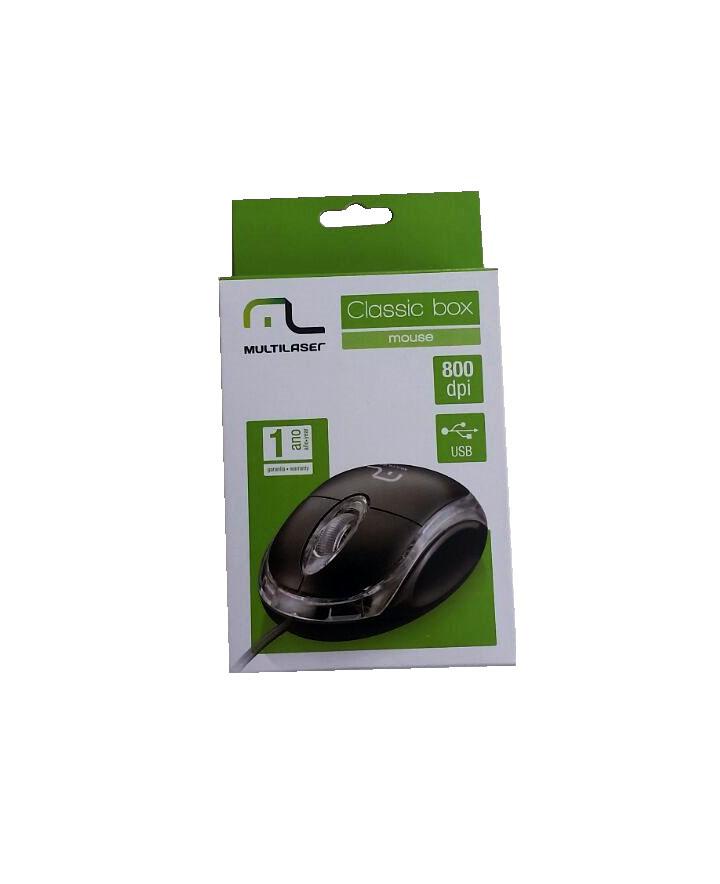 Mouse Óptico Multilaser Classic Box  Pretp USB M0179