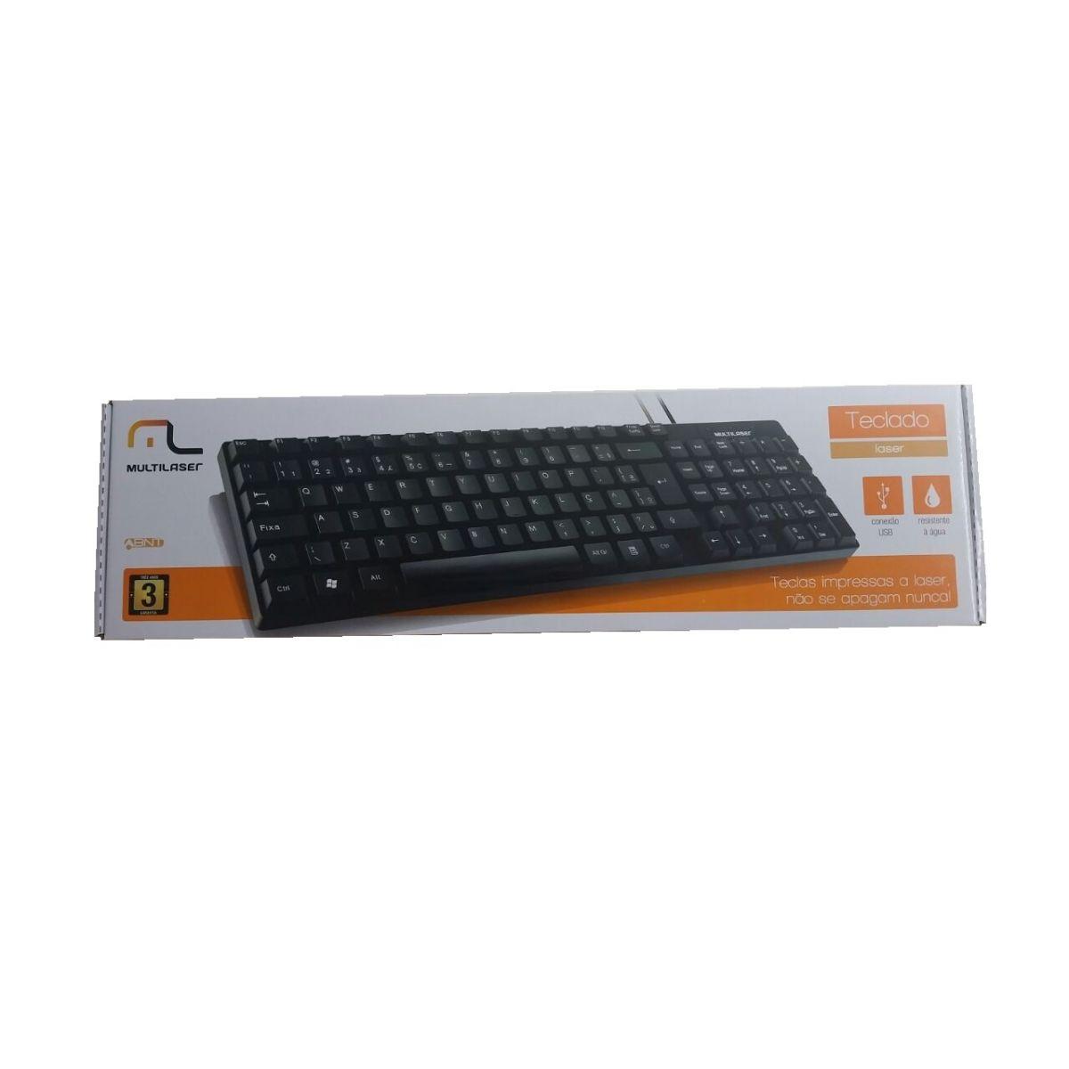 Teclado Multilaser Basico Slim Preto Laser USB TC193