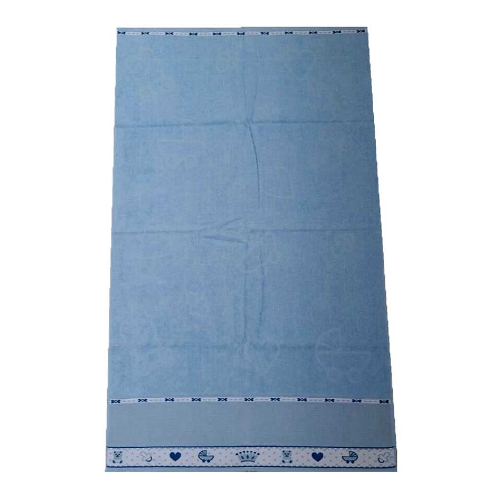 Toalha Infantil 68x1,10 Azul e Rosa com Barrado para Bordar