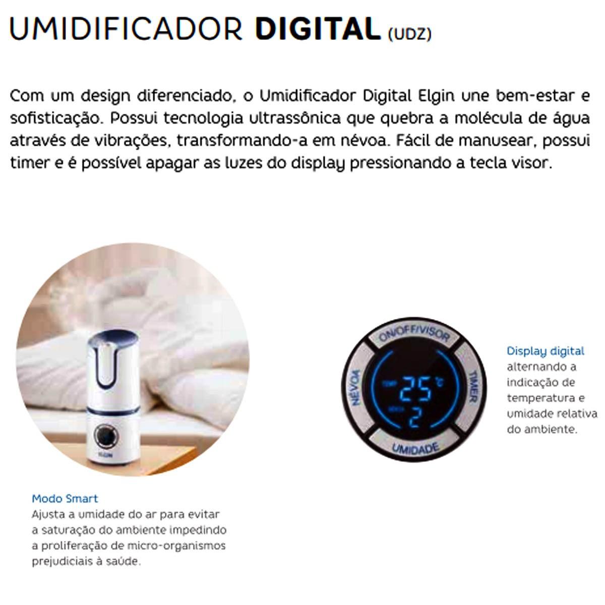 Umidificador de Ar Digital 2,5 Litros Bivolt - Elgin