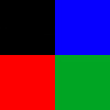 Preto (1), Azul (1), Vermelho (1) e Verde (1)