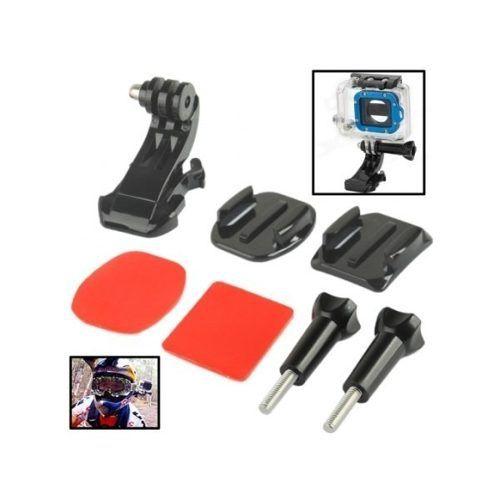 kit Suporte Frontal Curvo De Capacete P/ Go Pro Com Adesivos 3m