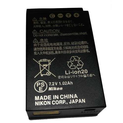 Bateria Nikon EN-EL20 Compatibilidade:  - Nikon 1 Aw1  - Nikon 1 S1  - Nikon 1 J3  - Nikon 1 J2  - Nikon 1 J1  - Coolpix A  - Blackmagic Pocket