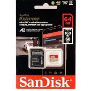 Cartão de memória Micro Sd Sdxc Sandisk Extreme 64gb C10 160mb/s