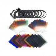 Kit 40 em 1 Filtro ND Densidade Neutra Estilo Cokin 24 cores 4 Bolsas Anéis e Holders