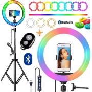 Kit Youtuber 6x1+Ring Light Colorido+ Tripé Celular+ Bluetooth