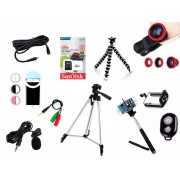 Kit Youtuber 12x1 - Microfone Lapela + LED Ring + Tripé 1,30m + Cartão  32GB + Mini Tripé Octopus + Extensor P2 + Suporte Articulado + Kit Lentes 3x1