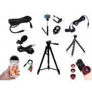 Kit Youtuber 12x1 -Tripé 1,30m +  Anel Led + Fone de ouvido + Kit Lentes 3x1 + Mic Lapela com Adaptador + Extensão 3 Metros Para Lapela + bastão + controle + suporte selfie + tripe flexivel