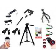Kit Youtuber 14x1 -Tripé 1,20m, + 2 Microfone Lapela com Adaptador + Extensão 3 mts  + Sup Selfie