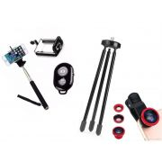 Kit Youtuber 5x1 - Mini Tripé + Bastão Selfie, + Kit Lentes + Suporte Celular + Controle