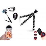 Kit Youtuber 6x1 - Bastão + Controle + Suporte Cel Universal + Tripé Flexível octopus + Conj. De Lentes