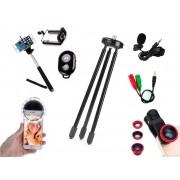 Kit Youtuber 6x1 - Mini Tripé + Bastão Selfie com Suporte Celular + Controle + Microfone