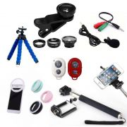 Kit Youtuber 7x1 - Mini-Tripé Flexível + Bastão Selfie + Suporte Celular + Controle Bluetooth + Microfone de Lapela com Adaptador +  Kit de Lentes 3x1 + Flash Ring LED