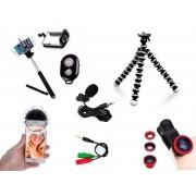Kit Youtuber 7x1 - Tripé Flexível + Bastão Selfie + Suporte Celular + Controle Bluetooth + Microfone de Lapela com Adaptador +  Kit de Lentes 3x1 + Flash Ring LED