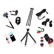 Kit Youtuber 9x1 - Microfone Lapela + Led Flash + Mini Tripé Alumínio + Tripé Flexível + Kit Lentes 3x1 + Cabo Extensão P2 3 Metros
