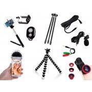 Kit Youtuber 9x1 - Microfone Lapela + Led Flash + Mini Tripé Alumínio + Tripé Flexível + Kit Lentes  + Cabo Extensão P2 3 Metros