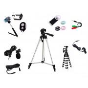 Kit Youtuber 9x1 - Microfone Lapela + Led Flash + Tripé 1,20 +  Tripé Flexível +Fone de ouvido + Cabo Extensão P2 3 Metros