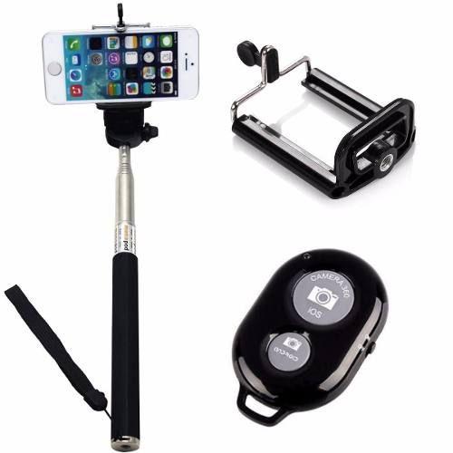 Kit Youtuber 6x1 - Bastão Selfie, + Suporte Celular + Controle + Microfone Lapela com Adaptador + Tripé 1,20m + lentes