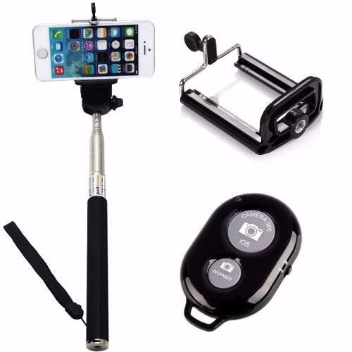 Kit Youtuber 4x1 - Mini Tripé + Bastão  Selfie + Suporte Universal P/ Celular +  Controle