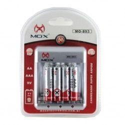 Carregador De Pilhas Mox Mo-cp51 Original Com 4 Pilhas Aa