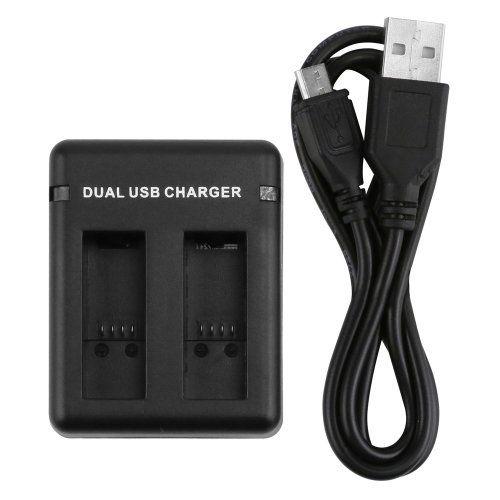 Carregador USB Duplo De Bateria Para Gopro Hero 5 6 e 7 inclusive Black