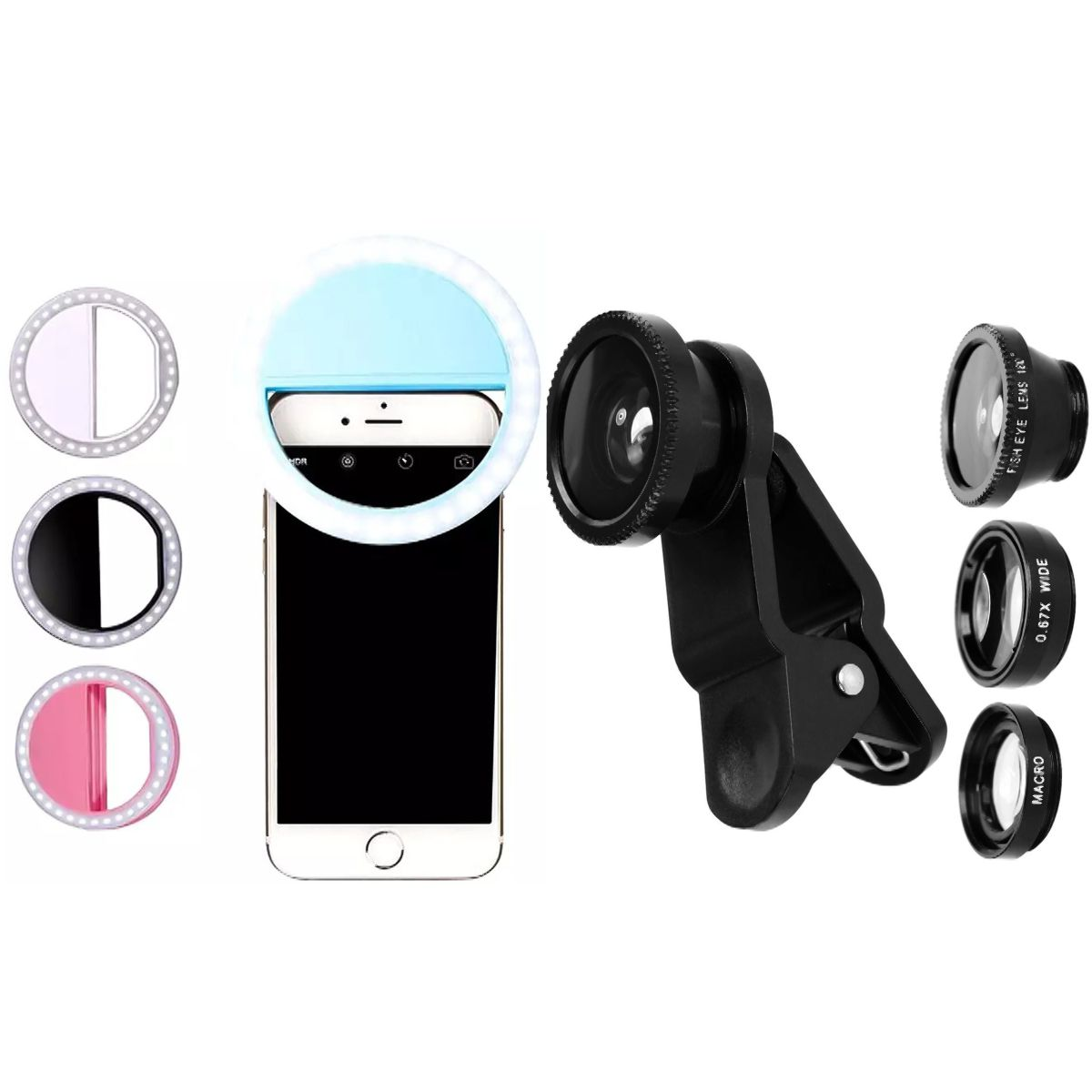 Conjunto de Lentes Fish Eye + Flash Portátil 16 Leds
