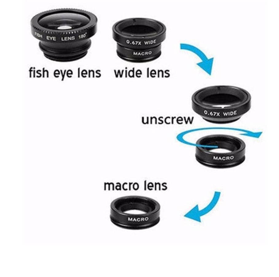 Conjunto de Lentes Universal Fish Eye, Macro e Wide
