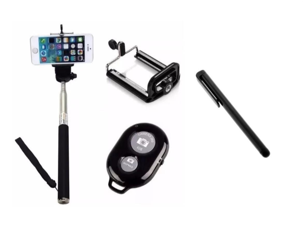 Conjunto Selfie - Bastão Monopod + Controle + Suporte Universal + caneta touchscreen
