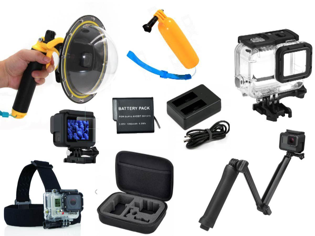 Kit de Acessórios GoPro Hero 5 6 7 Dome 9x1