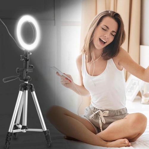 Kit Youtuber 6x1- Tripé 1,30m +Ring Light +Microfone Lapela Celular