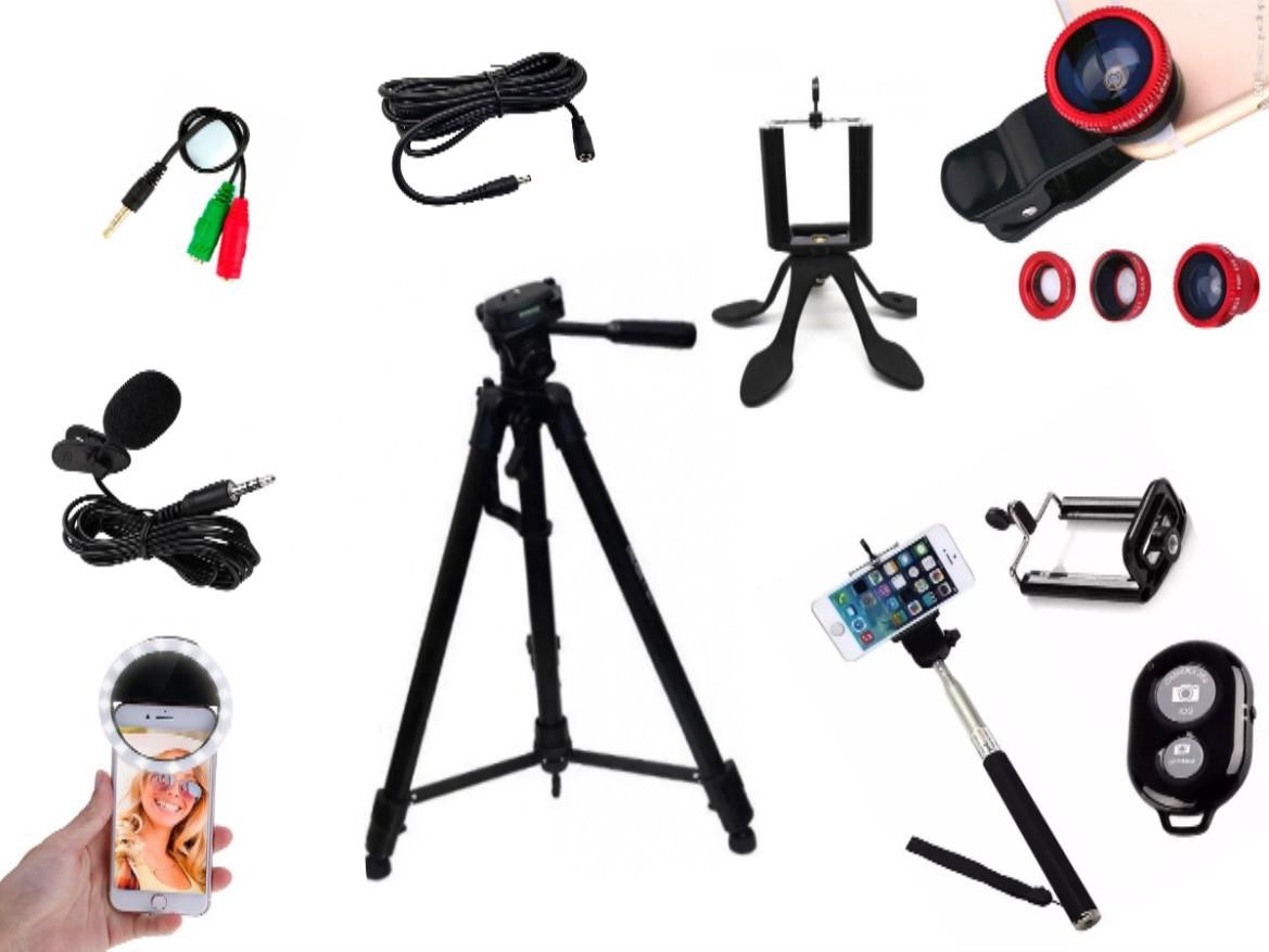 Kit Youtuber 10x1 - Microfone Lapela + LED Ring + Tripé 1,20m + Mini Tripé Gekkopod + Extensor P2