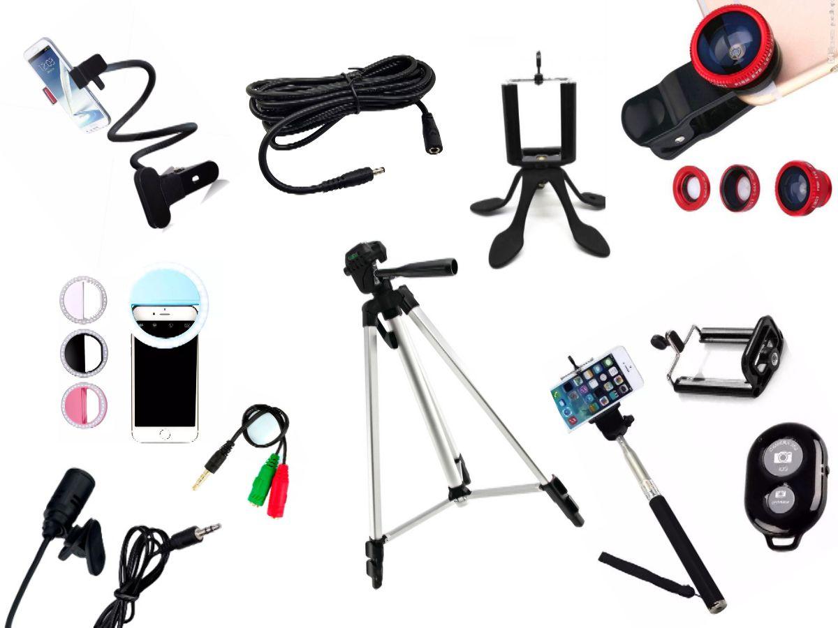 Kit Youtuber 10x1 - Microfone Lapela + LED Ring + Tripé 1,20m + Mini Tripé Gekkopod + Extensor P2 + Suporte Articulado + Kit Lentes 3x1