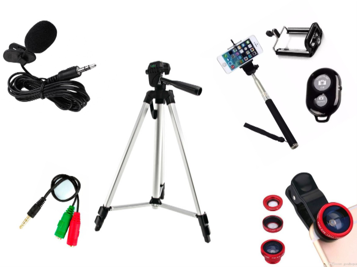 Kit Youtuber 10x1 - Microfone Lapela + LED Ring + Tripé 1,20m + Mini Tripé Gekkopod + Extensor P2 + Suporte Articulado + Kit Lentes