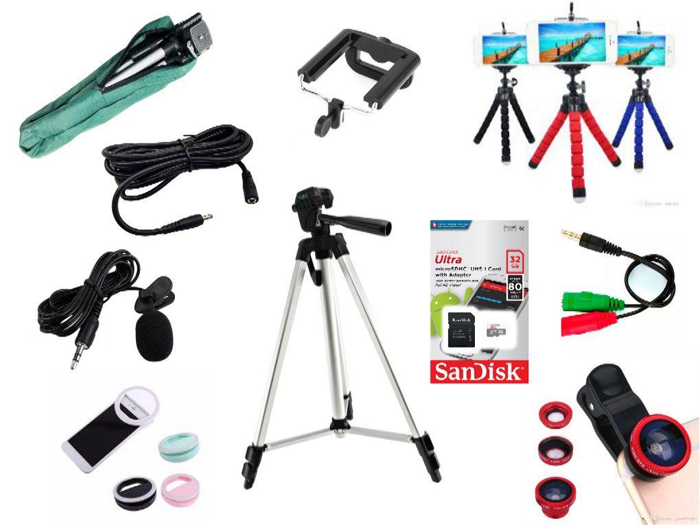 Kit Youtuber 10x1 -Tripé 1,20m, + Microfone Lapela com Adaptador + Extensão 3 Metros para Lapela + Suporte Selfie + mini tripé octopus + led ring  + kit lentes 3x1