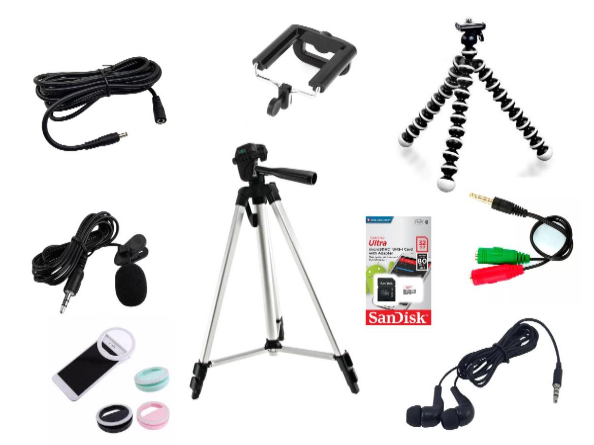 Kit Youtuber 10x1 -Tripé 1,20m, + Microfone Lapela com Adaptador + Extensão 3 Metros para Lapela + Suporte Selfie + mini tripé octopus + led ring  + fone de ouvido