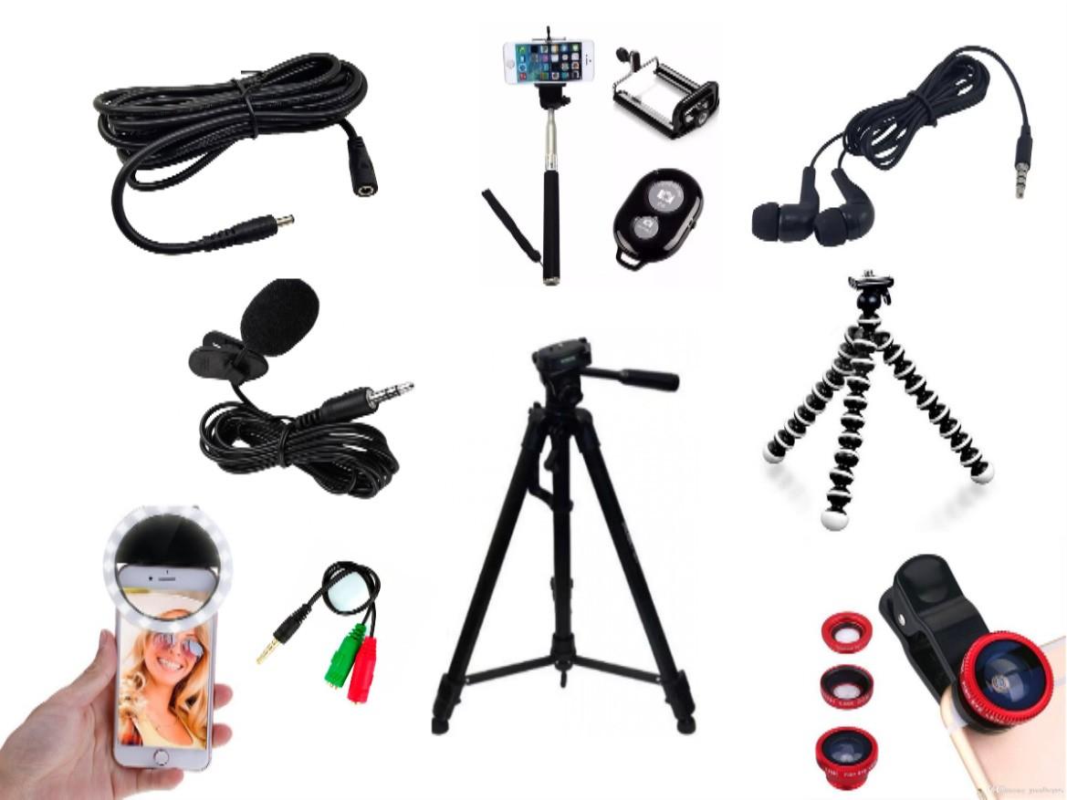 Kit Youtuber 12x1 Extensão 3 Met +Tripé 1,30m + Anel Led + Mic Lapela com Adaptador