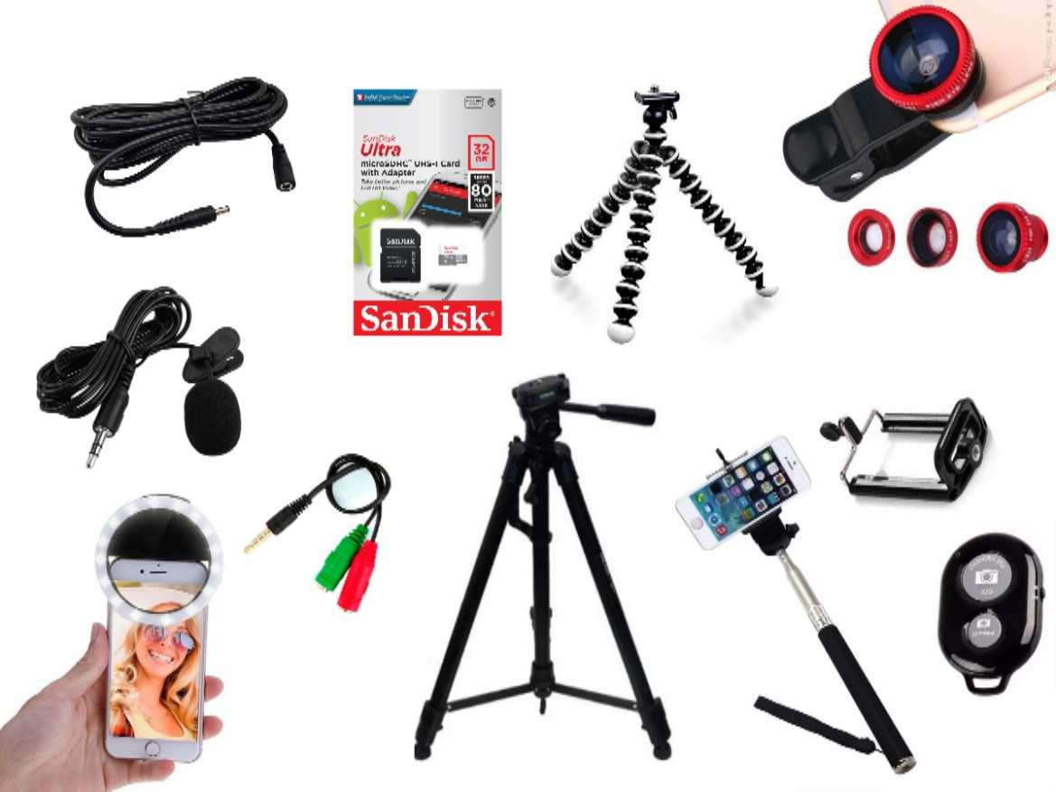 Kit Youtuber 12x1 - Microfone Lapela + LED Ring + Mini Tripé Octopus +Tripé 1,30m + Cartão  32GB