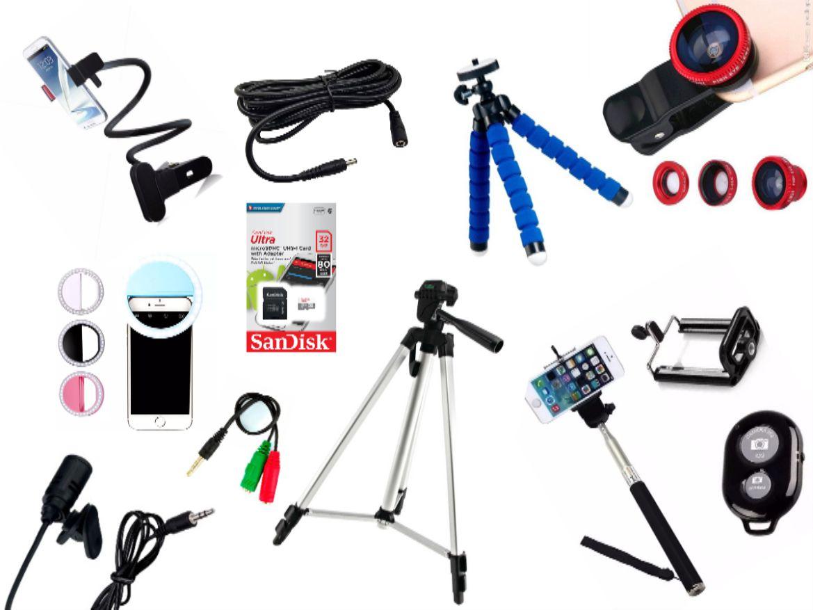 Kit Youtuber 12x1 - Microfone Lapela + LED Ring + Tripé 1,30m + Cartão Ultra Sandisk 32GB + Mini Tripé Octopus + Extensor P2 + Suporte Articulado + Kit Lentes 3x1