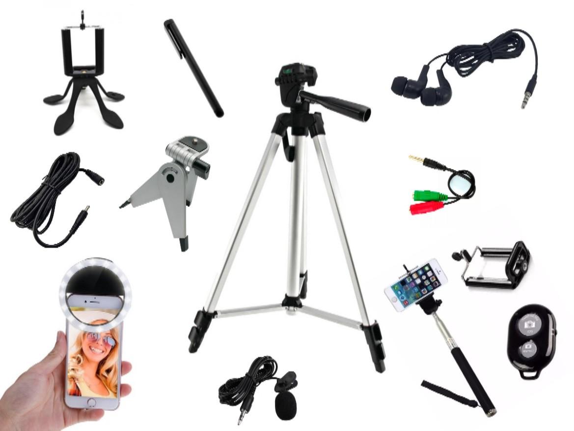 Kit Youtuber 13x1 - Fone de ouvido +Tripé 1,30m + Anel Led + caneta touchscree +Caneta touchscree