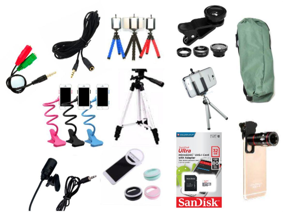 Kit Youtuber 13x1 -Tripé 1,80m + Anel Led + cartão ultra 32GB Sandisk + Suporte Mesa Flexível + Kit Lentes 3x1 + Mic Lapela com Adaptador + Extensão 3 Metros para Lapela +  Tripé Flexíve + LUNETA