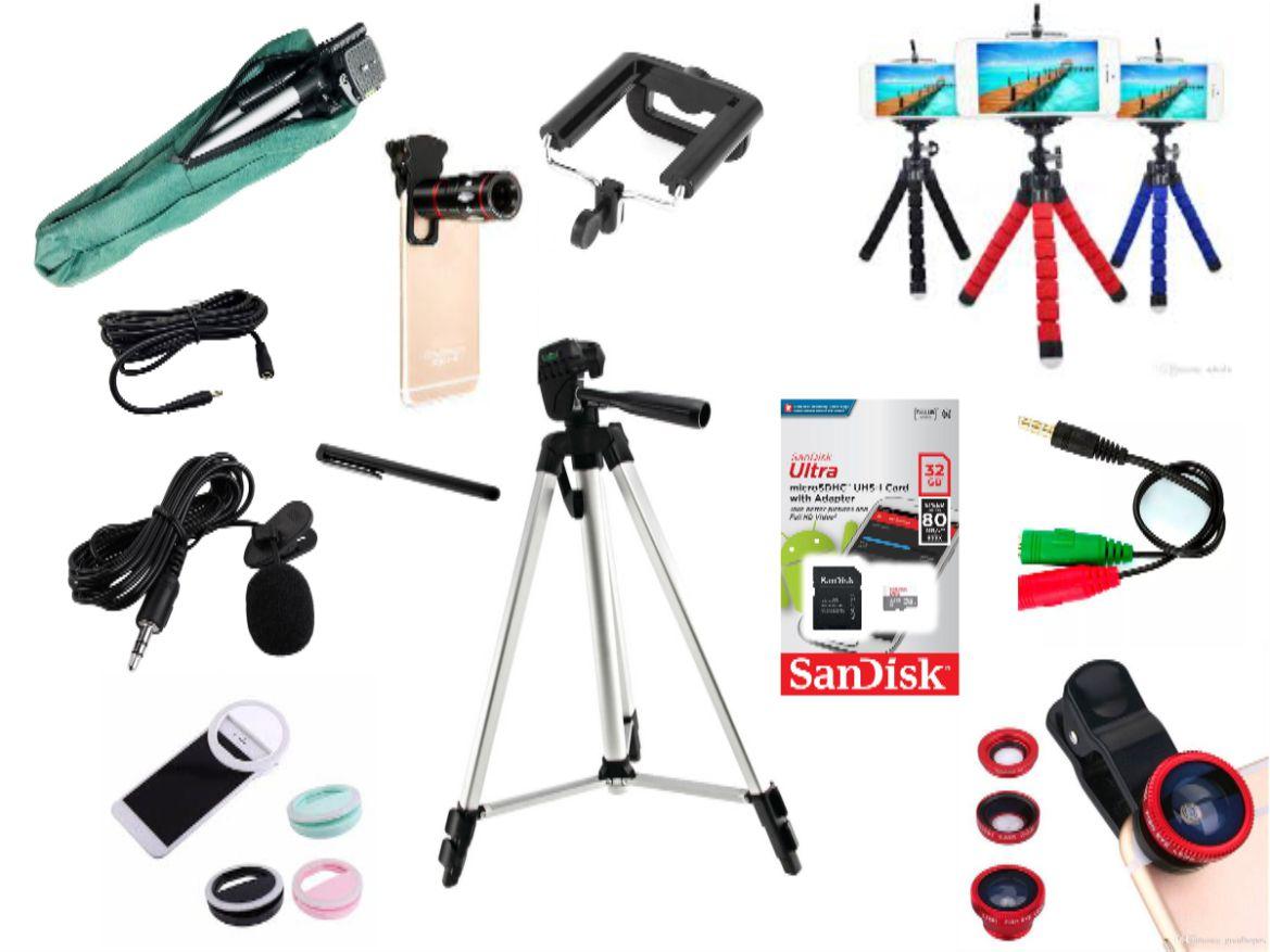 Kit Youtuber 14x1 -Tripé 1,20m, + 2 Microfone Lapela com Adaptador + Extensão 3 Metros para Lapela + Suporte Selfie + mini tripé octopus + cartão ultra Sandisk 32GB original + Luneta