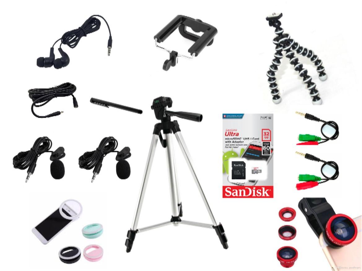 Kit Youtuber 14x1 -Tripé 1,20m, + 2 Microfone Lapela com Adaptador + Extensão 3 Metros para Lapela + Suporte Selfie +  tripé octopus + cartão ultra Sandisk 32GB original + fone de ouvido