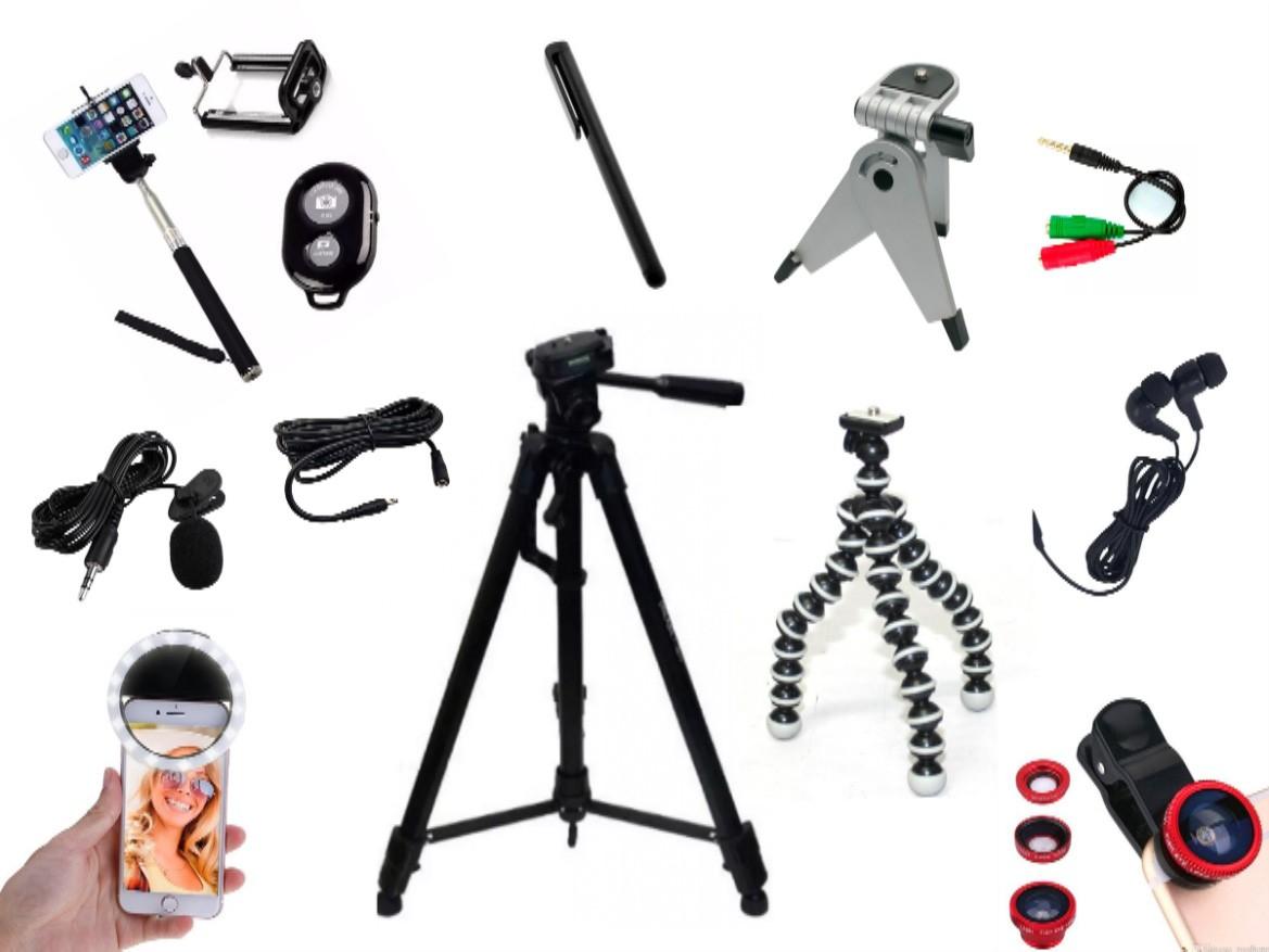 Kit Youtuber 14x1 -Tripé 1,30m + Anel Led + fone de ouvido + Kit Lentes + Mic Lapela com Adaptador + Extensão 3 Metros p/ Lapela + Bastão + Controle + Suporte + Tripé octopus