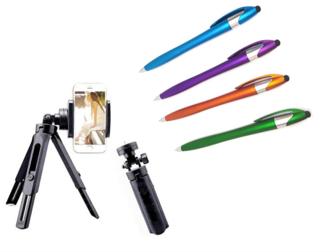 Kit Youtuber 3x1 com Mini Tripé, Suporte Celular e Caneta Touch Styllus